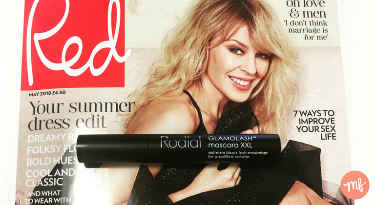 Magazine freebie of a black Rodial mascara, on top of the May 2018 edition of Red magazine
